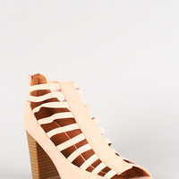Qupid Cage Open Toe Chunky Heel