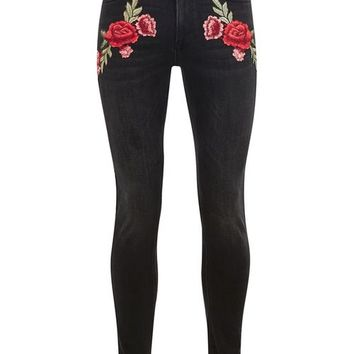 Black Embroidered Rose Super Spray On Jeans - New Arrivals - New In