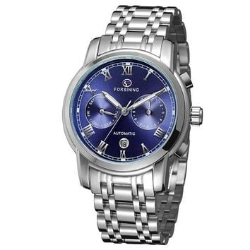 """THE BLUE OCEAN""  Men's classic automatic calendar watch with blue face"