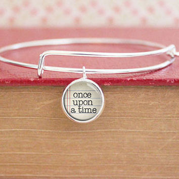 Once Upon a Time - Silver Bracelet - Silver Bangle Bracelet - Adjustable - Reader - Writer - Storyteller - Charm Bracelet (S8710)