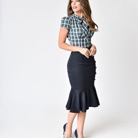 Banned Vintage Style Night Blue Button Rihana Trumpet Skirt