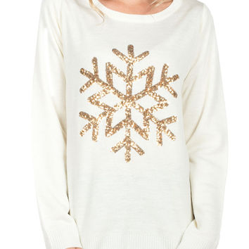 Women's Golden Snowflake Christmas Sweater