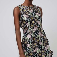 PU Floral Applique Shift Dress - We Love