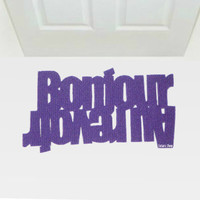 Doormat with double message in French: Bonjour - Au revoir. Home decor