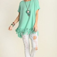 UMGEE USA Gypsy Road Jade Green Fringed Oversized Tunic Top S M L