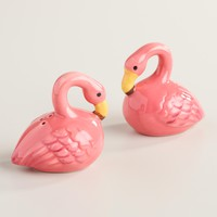 Ceramic Flamingo Salt and Pepper Shaker Set