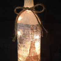 Paris wine bottle lamp (style #2), Eiffel Tower lamp, nightlight, Paris decorations