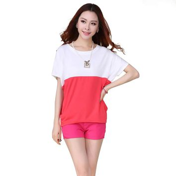 Lady Loose Cotton Short Sleeve Tops