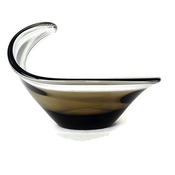 Mid Century Art Glass Bowl, Smokey Glass, Holmegaard, 1960s