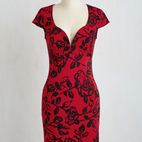 Pinup Mid-length Short Sleeves Sheath For a Good Cosmo Dress in Crimson