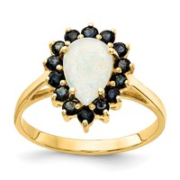 14k Yellow Gold Genuine Pear Australian Opal And Blue Sapphire Ring