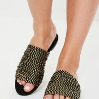 Missguided - Gold Rope Flat Mule Sandals
