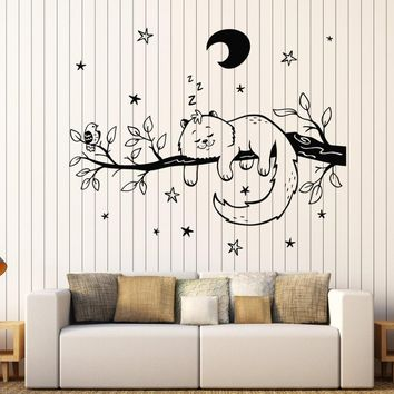 Cat On Branch Star Tree Wall Sticker Bedroom Animal Vinyl PVC Art Decals Moon Stickers Kids Home Decor Living Room Decoration ZB044