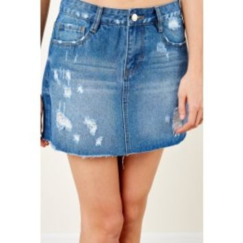 What Are You Waiting For Medium Wash Denim Skirt