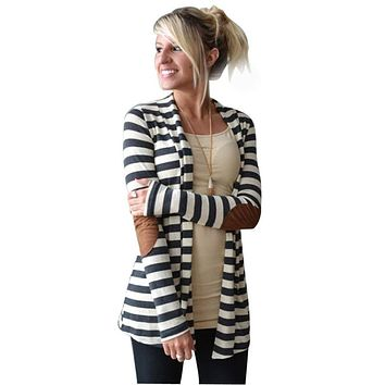 Long Sleeve Striped Cardigans with Patchwork