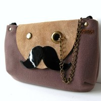 Mr. Mustache with Monocle Taupe Cross Body or Shoulder Bag or Clutch Purse with Adjustable & Detachable Black Faux Suede Strap