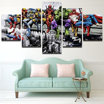 HD Printed Canvas Painting for Living Room Wall Art 5 Pieces Canvas Art Water Colorful Superheros Marvel DC Comics Art Unframed
