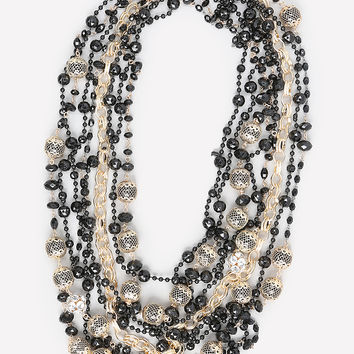bebe Womens Black & Gold Bead Necklace Black Gold