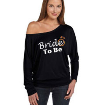 Bride To Be with Engagement Ring graphic, Long Sleeve, off shoulder style, bride to be, Engagement announcement, new bride