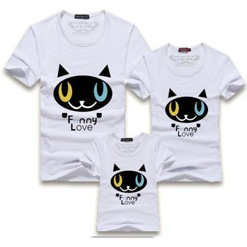 2016 New Family Look Cartoon Cat Funny Love Print Mother Daughter Matching Mother Father Baby Matching Family Clothes T Shirts