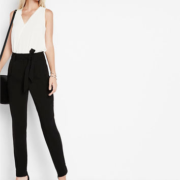 High Waisted Sash Waist Straight Leg Ankle Pant