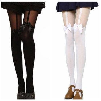 Women's Sexy Stockings Pantyhose Tattoo Mock Bow Suspender Sheer Elastic Tights