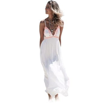 Sexy Plunging Neck Suspenders Ball Gown Floor-length Print Dress for Women