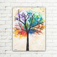 Colorful Tree Painting Abstract Wall Decor for Office or Home, Tree of Life Canvas Art Original Painting