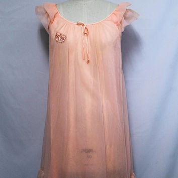 60s Nightgown / Peach Babydoll Nightgown / Nightie Vintage Lingerie