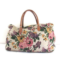Vintage large floral revival GITANO overnight carry on duffle bag / fabric suitcase