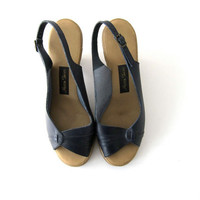 70s blue leather wedges. women's slingback sandals.