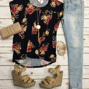 Floral Knotted Top: Navy