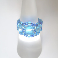Handmade Blue Beaded Ring! Bead Ring, Metal Free Ring, Seed Bead Ring, Beaded Jewelry, Blue Ring