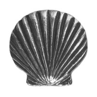3 Danforth Scallop Shell Metal Shank Buttons Silver color 3/4 inch ( 18 mm )