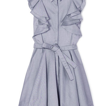 Antonio Berardi - Ruffled cotton-chambray mini dress