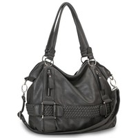 Dark Gray Weave Pattern Belt Accent Double Handle Top Closure Soft Hobo Bowler Satchel Office Tote S
