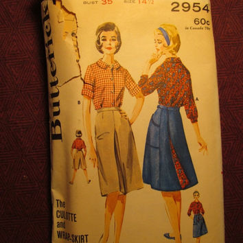 SALE Complete 1960's Butterick Sewing Pattern, 2954! Bust 35 Medium/Large/Women's/Misses/Culotte & Reversible Wrap-Skirt/Johnny Collared Blo