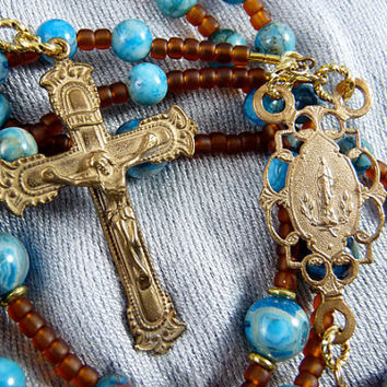 Crazy Lace Agate Rosary - Bronze Rosary - Catholic Rosary - Blue Rosary - Brown Rosary - Confirmation - Communion - Religious - Jesus - Mary