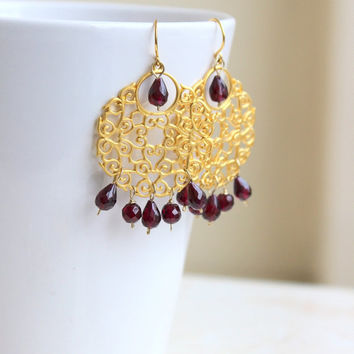 35% Off Sale Garnet Gemstone Earrings Maroon Red Gold Filigree GE11