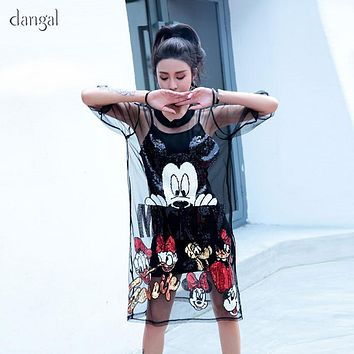 Dangal Women Two Piece Set Mesh Dress See Through T Shirt Dress Black Mickey Sequin T Shirt Dress Tshirt Dress with Sequins