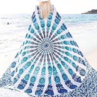 Boho Style Light Blue Beach Square Blanket Tapestry