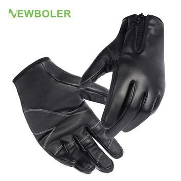 NEWBOLER  Leather Fishing Gloves Men Waterproof Anti-Slip Full Finger Glove Cycling Driving Outdoor Sport Winter Thermal Gloves