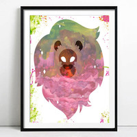 Steven Universe Lion, Poster Watercolor Painting Print Birthday Gift Nursery Decor Wall Art Kids Decor Wall Decor Home Decor Posters