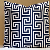 Pillow Cover. Navy and white Greek Key pillow cover, Fabric both sides, all sizes available