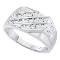 Mens Round Diamond Ring White Gold in 10k White Gold 0.5 ctw