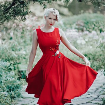 Fiery Red 3 D Embroidered Ribbon Camelia Dress