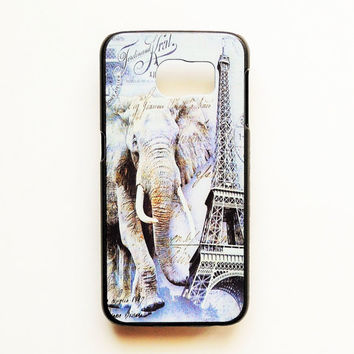 Samsung Galaxy S6 Eiffel Tower Elephant Case Hard Plastic Paris Galaxy S6 Back Cover France Pattern Samsung S6 French Cover