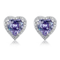 COUTURE 3 Carat Purple Sapphire Heart Stud Clip On Earrings