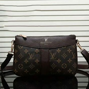 LV Louis Vuitton New Popular Women Shopping Leather Shoulder Bag Crossbody Satchel Coffee I-LLBPFSH