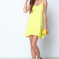 YELLOW RUFFLE SLIP CREPE DRESS